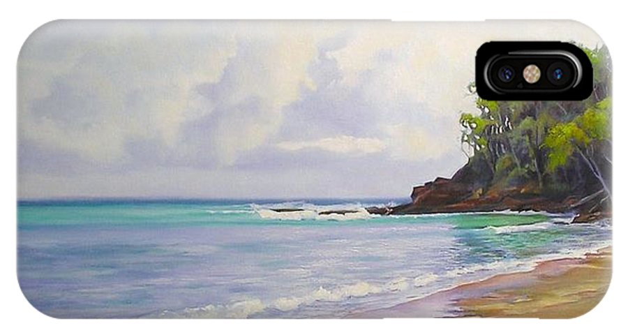 Seascape IPhone X Case featuring the painting Main Beach Noosa Heads Queensland Australia by Chris Hobel