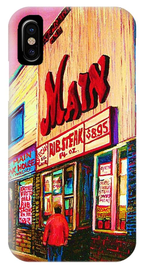 Montreal IPhone X Case featuring the painting Main Steakhouse Blvd.st.laurent by Carole Spandau