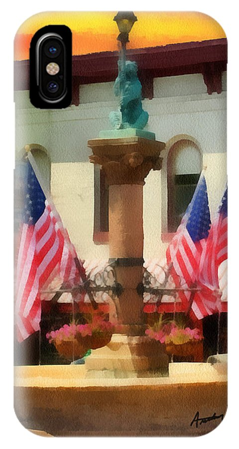 Fountain IPhone X Case featuring the painting Main Street Usa by Anthony Caruso