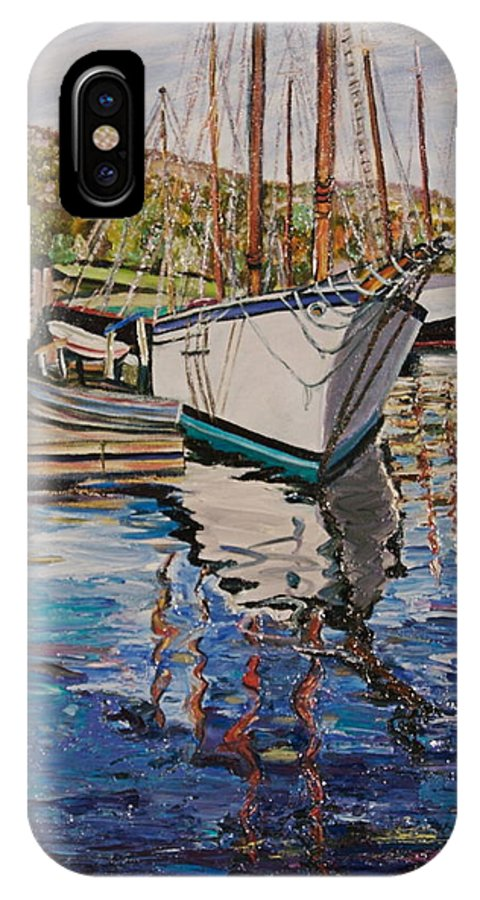 Maine IPhone X Case featuring the painting Maine Coast Boat Reflections by Richard Nowak