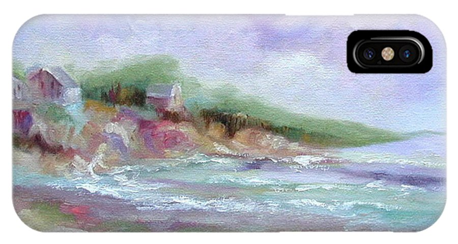 Maine Coastline IPhone X Case featuring the painting Maine Coastline by Ginger Concepcion