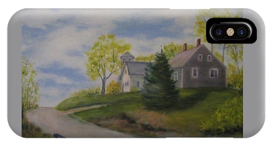 Landscape IPhone X Case featuring the painting Maine House by Sandra Bourret