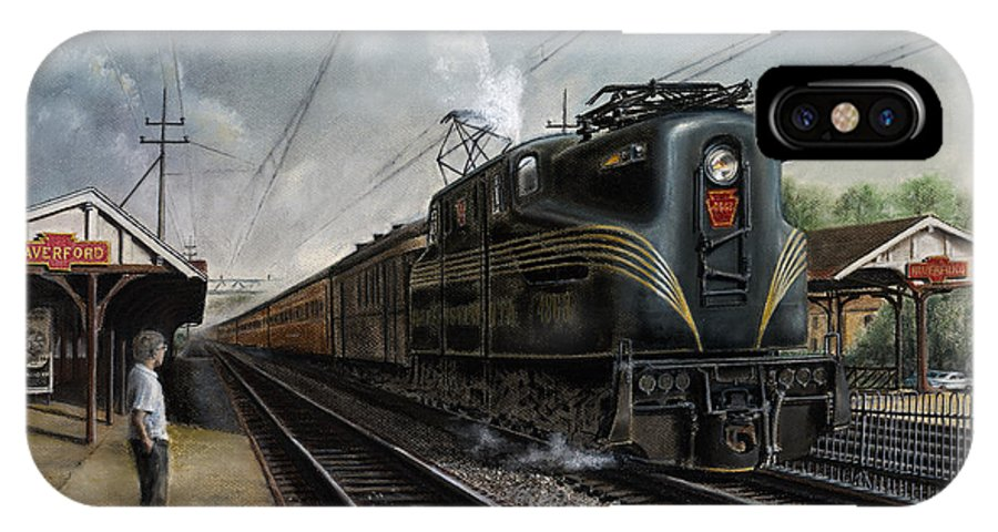 Trains IPhone X Case featuring the painting Mainline Memories by David Mittner