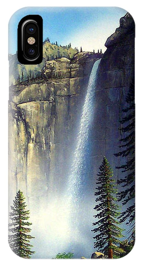 Landscape IPhone X Case featuring the painting Majestic Falls by Frank Wilson