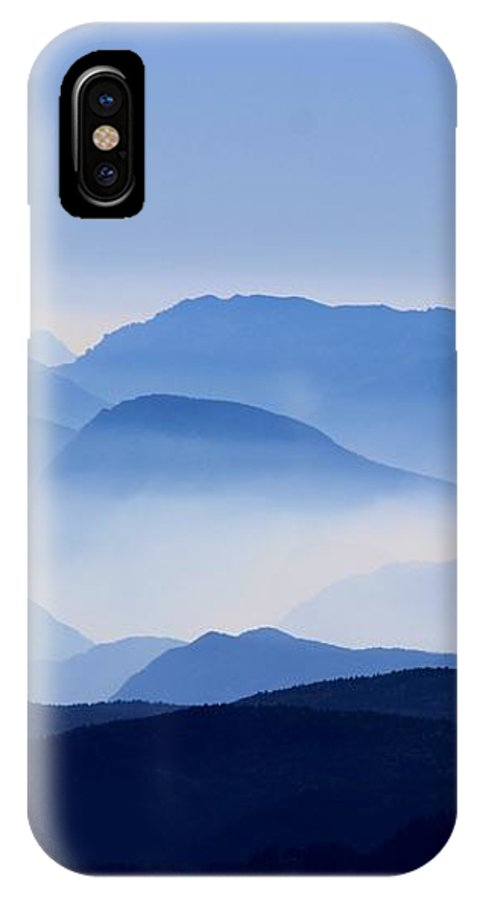 Blue IPhone X Case featuring the photograph Majestic Mountains by Happy Home Artistry