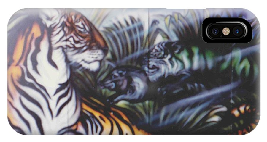 Tiger IPhone X Case featuring the painting Majestic Tiger by Lorraine Souza Wilcox