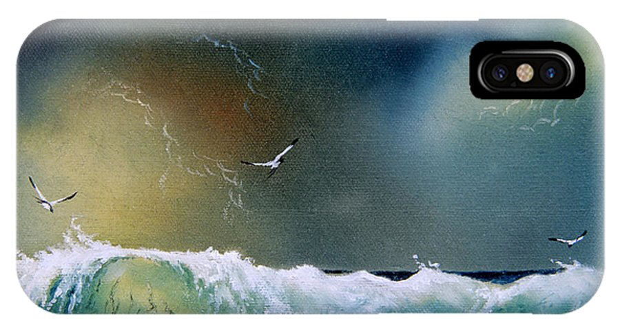 Water IPhone X Case featuring the painting Majestic Wave by Don Griffiths