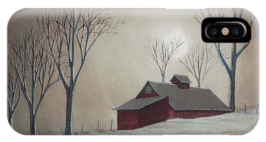 Winter Scene Paintings IPhone X Case featuring the painting Majestic Winter Night by Charlotte Blanchard