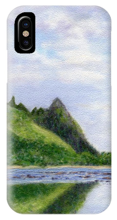 Rainbow Colors Pastel IPhone Case featuring the painting Makana Reflection by Kenneth Grzesik