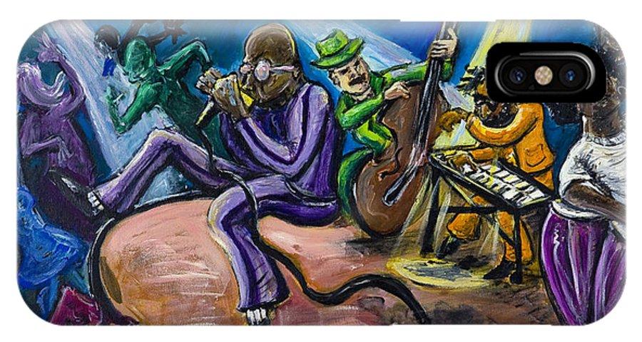 Jazz Music Art Black Musician IPhone X Case featuring the painting Make It Funky by Jason Gluskin
