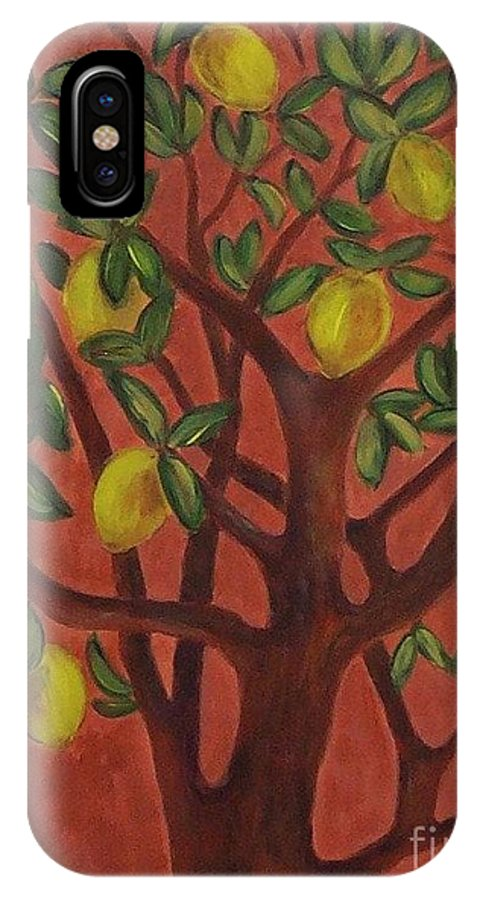 Lemon IPhone X / XS Case featuring the painting Make Lemon Aid by Jeanie Watson