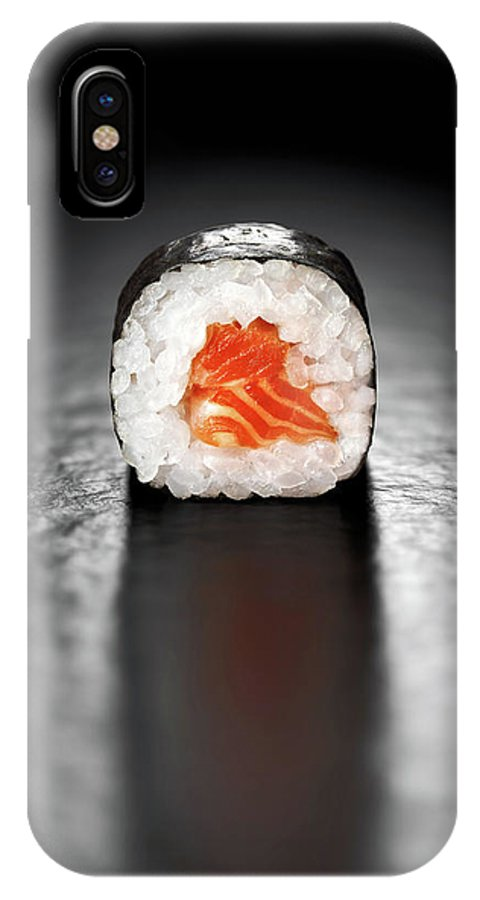 Sushi IPhone X Case featuring the photograph Maki Sushi Roll With Salmon by Johan Swanepoel