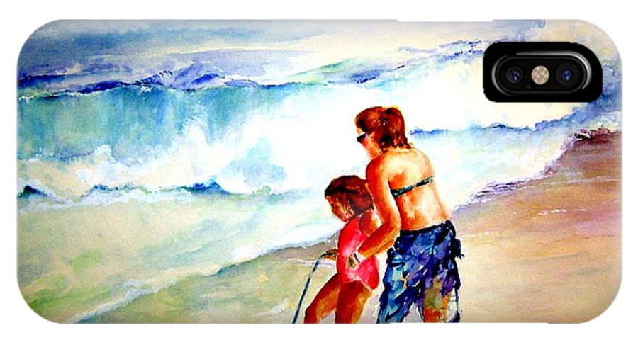 Beach Surf IPhone X Case featuring the painting Making A Memory by Sandy Ryan