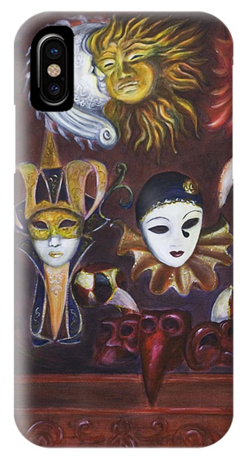 Masks IPhone X Case featuring the painting Making Faces II by Nik Helbig