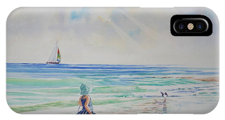 Beach IPhone X / XS Case featuring the painting Making Friends At The Beach by Tom Harris