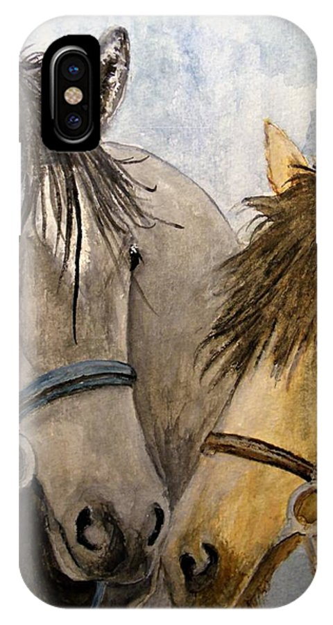 Horse IPhone X Case featuring the painting Making Friends by Carol Grimes