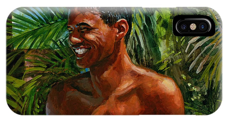 Hawaiian IPhone X Case featuring the painting Making Nohea Laugh by Douglas Simonson