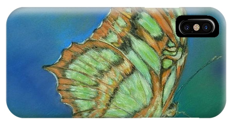 Butterfly IPhone X Case featuring the painting Malachite by Ceci Watson