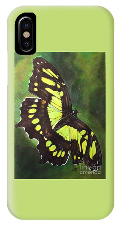 Butterfly IPhone X Case featuring the mixed media Malacite by Barbara Keith