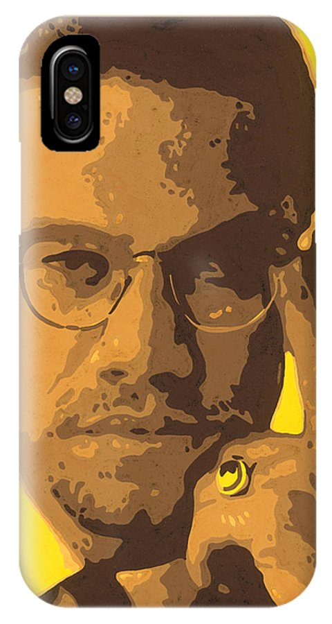 Malcolm IPhone X / XS Case featuring the painting Malcolm El Afroxicano by Roberto Valdes Sanchez