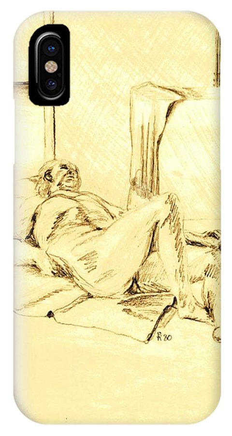 Live IPhone X / XS Case featuring the drawing Male Nude Reclining On Cushion by Sheri Buchheit