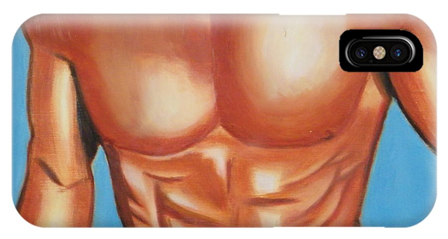 Nude IPhone X Case featuring the painting Male Nude by Santiago Rodriguez