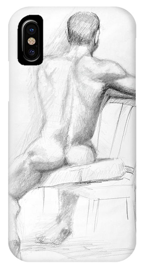 Male IPhone X Case featuring the drawing Male Nude With Chair by Keith Burgess