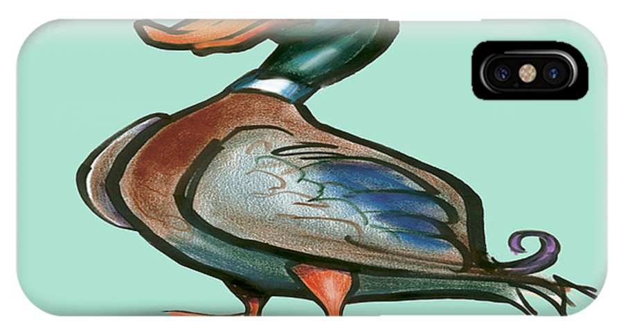 Duck IPhone X Case featuring the digital art Mallard Duck by Kevin Middleton