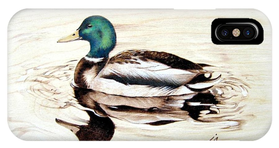 Pyrography IPhone X Case featuring the pyrography Mallard by Ilaria Andreucci