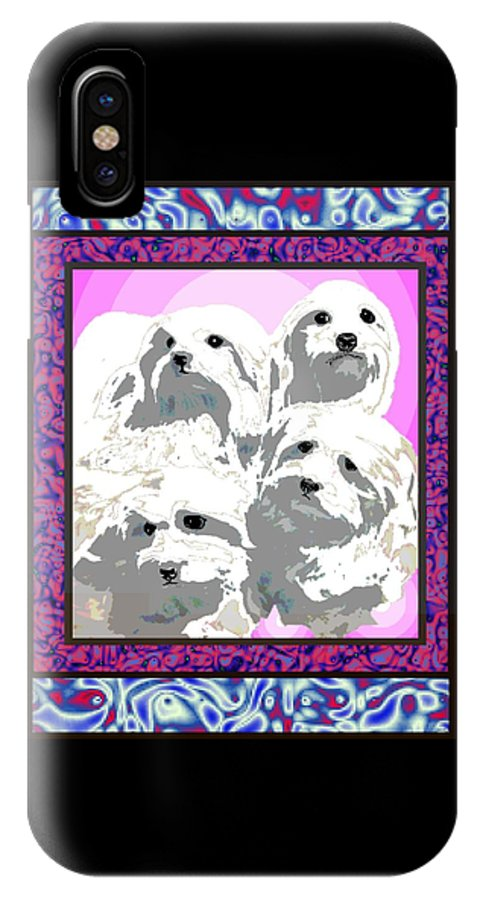 Maltese Group IPhone Case featuring the digital art Maltese Group by Kathleen Sepulveda