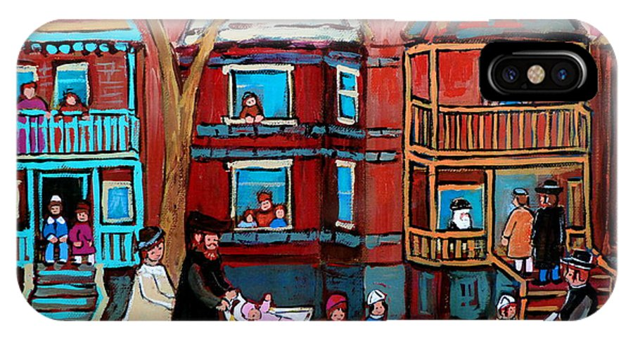 Hassidic Community IPhone Case featuring the painting Mama Papa And New Baby by Carole Spandau