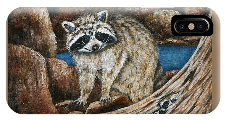 Racoon IPhone X Case featuring the painting Mama Racoon by Ruth Bares