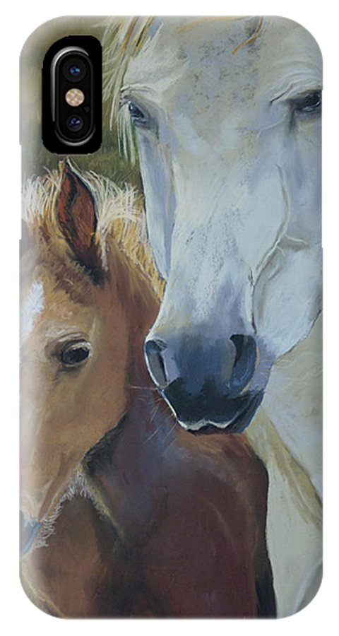 Horses IPhone X Case featuring the painting Mama's Boy by Heather Coen