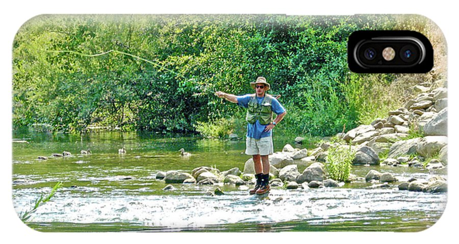 Man Fly Fishing In Canyon Creek Near Winters IPhone X Case featuring the photograph Man Fly Fishing In Canyon Creek Near Winters-california by Ruth Hager