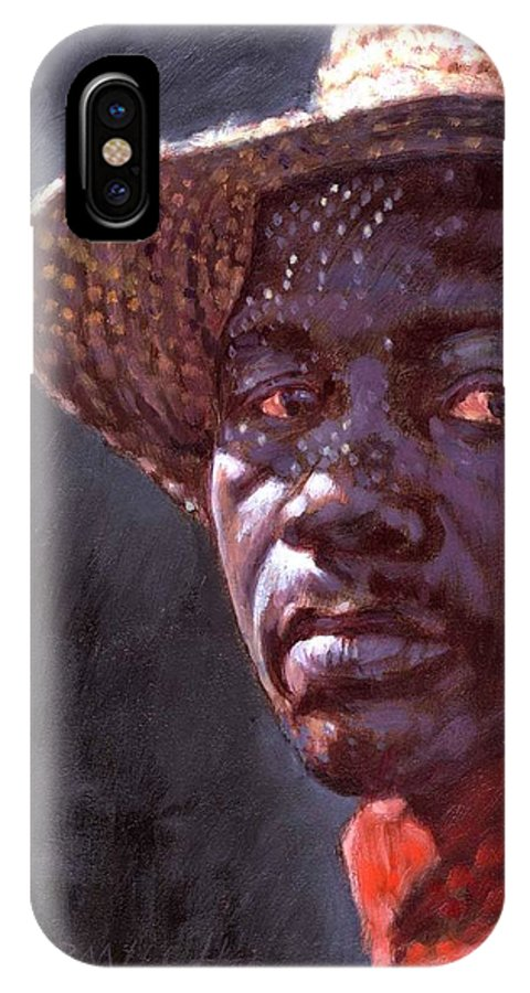 Black Man IPhone X Case featuring the painting Man In Straw Hat by John Lautermilch