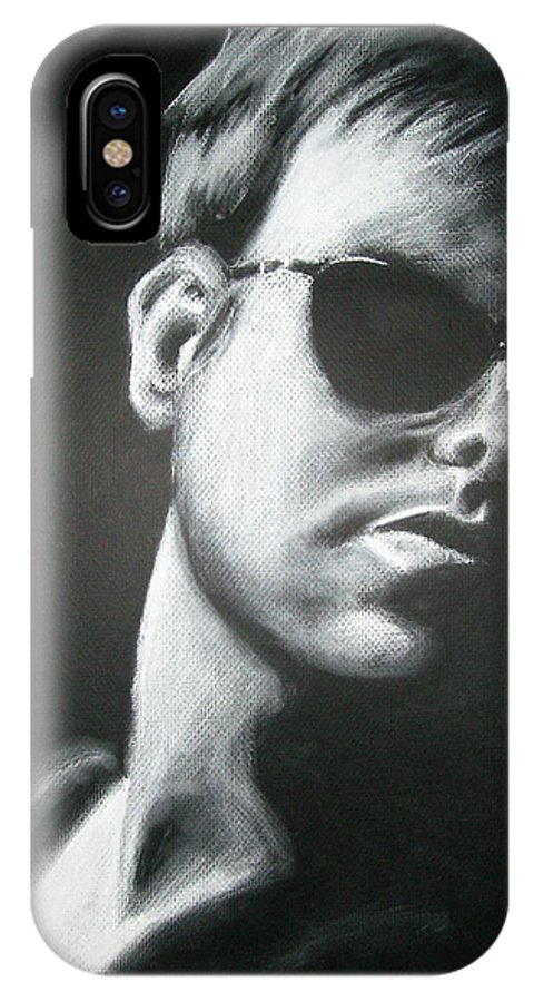 Man IPhone X Case featuring the drawing Man In The Shadows by Ashley Warbritton