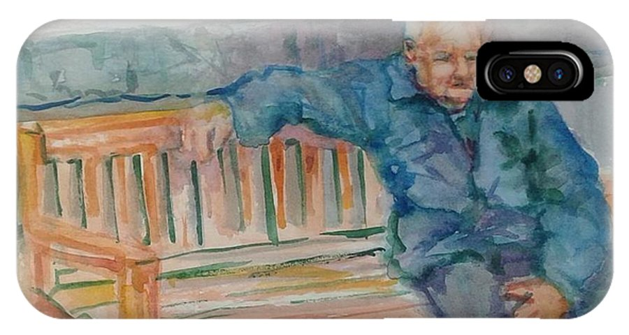 Man IPhone X / XS Case featuring the painting Man On Bench by Ruth Mabee
