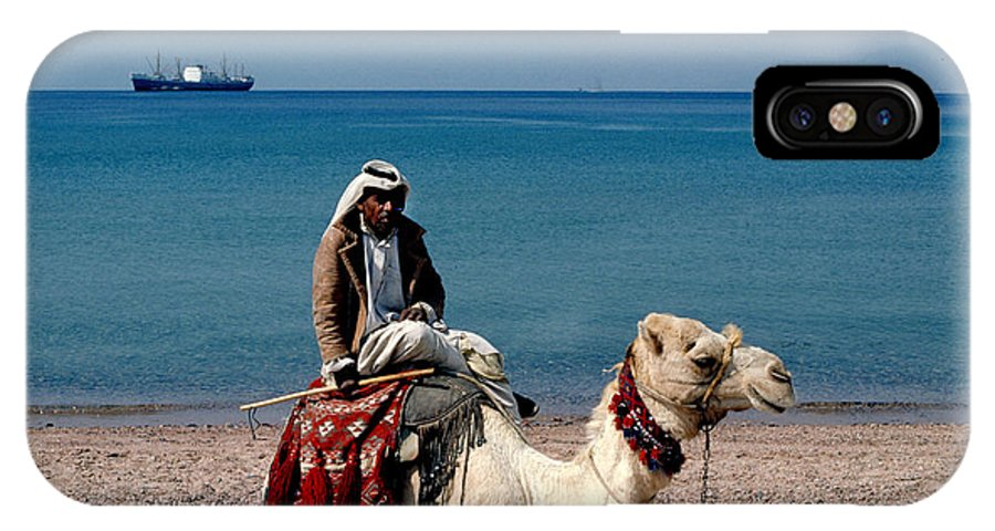 Dromedary IPhone X Case featuring the photograph Man With Camel At Red Sea by Carl Purcell