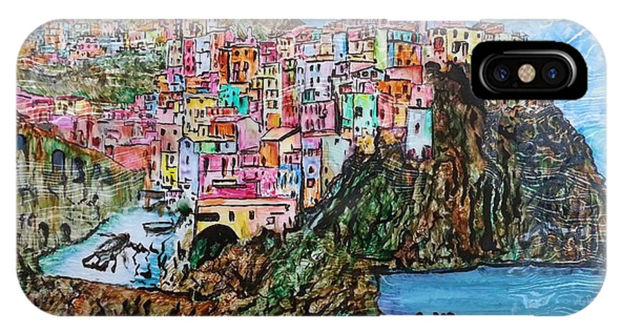 Original IPhone X / XS Case featuring the painting Manarola by Eli Gross