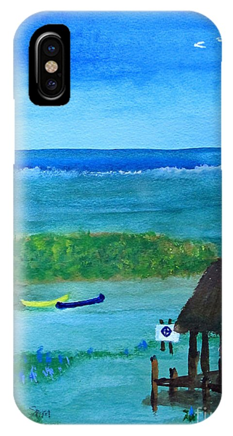 Manatee IPhone X Case featuring the painting Manatee Refuge Part 2 by Sandy McIntire