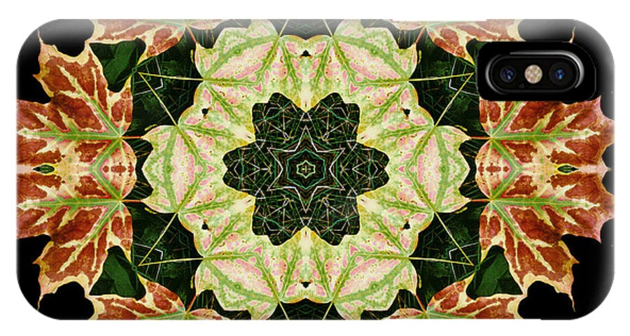 Autumn IPhone X Case featuring the photograph Mandala Autumn Star by Nancy Griswold
