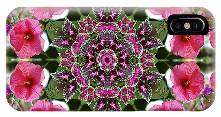 Mandala IPhone X Case featuring the digital art Mandala Pink Patron by Nancy Griswold
