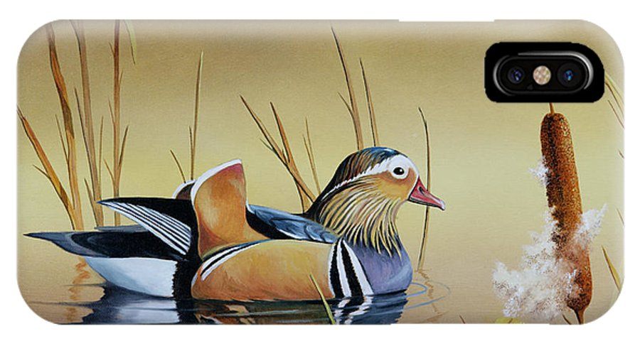 Duck IPhone X Case featuring the painting Mandarin Duck by Don Griffiths
