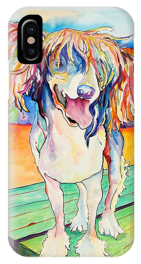 Chinese Crested IPhone X Case featuring the painting Mango Salsa by Pat Saunders-White