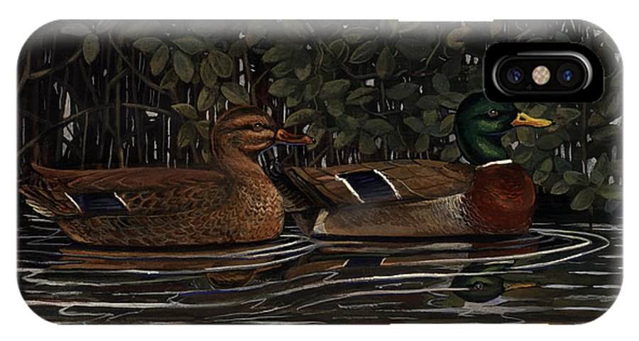 Mangrove IPhone X Case featuring the painting Mangrove Mallards by Timothy Tron