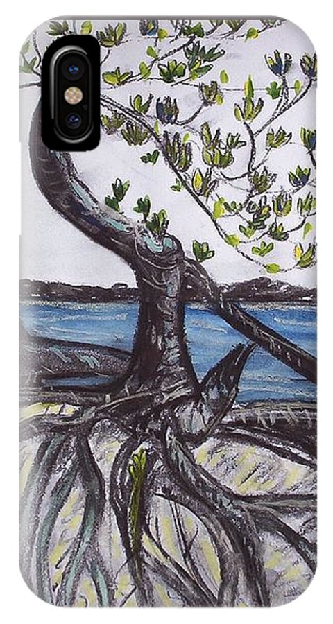 Sea IPhone X Case featuring the painting Mangroves by Joan Stratton