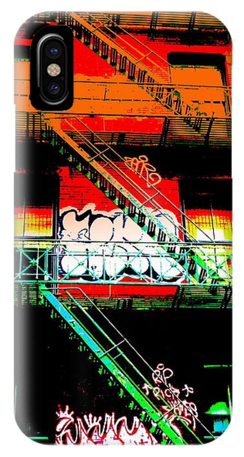 City IPhone X Case featuring the photograph Manhattan Fire Escape by Funkpix Photo Hunter