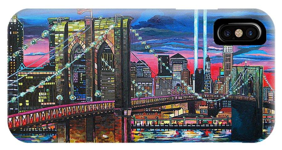 Manhattan IPhone X Case featuring the painting Manhattan Kinda Night by Patti Schermerhorn