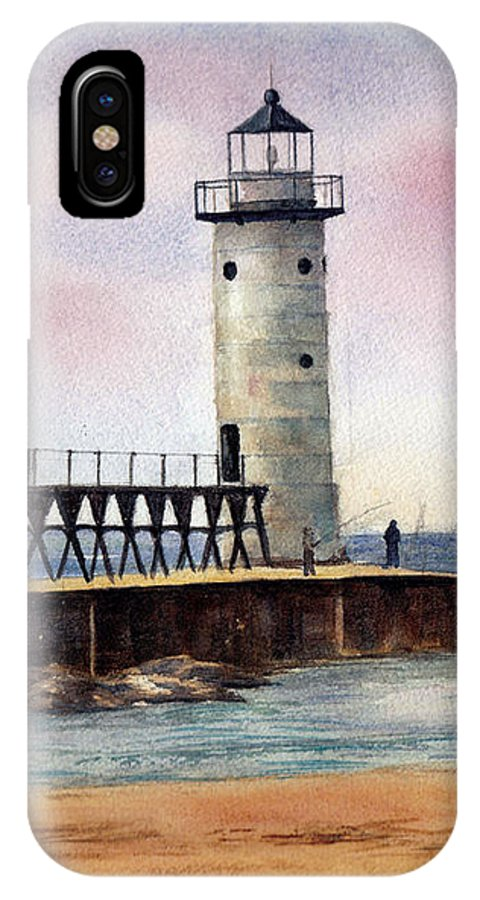 Lighthouse IPhone X Case featuring the painting Manistee North Pierhead Light by Brenda Thour