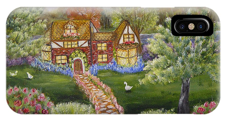 Landscape IPhone Case featuring the painting Manor Of Yore by Quwatha Valentine